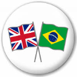 Great Britain and Brazil Friendship Flag 25mm Pin Button Badge